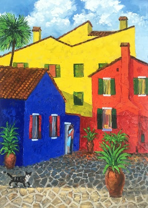 (CreativeWork) Burano colours by Irina Redine. Oil Paint. Shop online at Bluethumb.