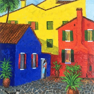 (CreativeWork) Burano colours by Irina Redine. oil-painting. Shop online at Bluethumb.
