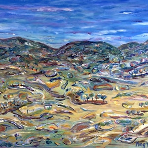 (CreativeWork)   Foothills (now framed) by Meg Vivers. acrylic-painting. Shop online at Bluethumb.