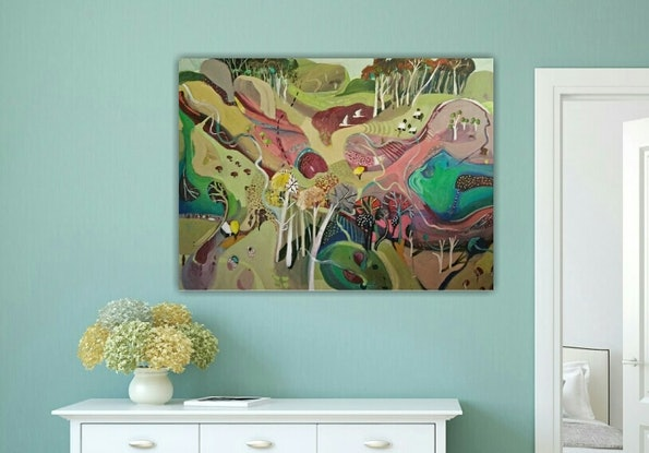 (CreativeWork) Abstract Landscape - Pastoral Abstract by Susan Trudinger. Acrylic Paint. Shop online at Bluethumb.