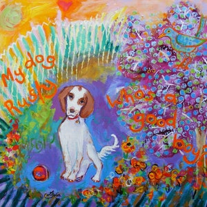 """(CreativeWork) """"RUSTY  1---Who's a good boy"""" by Daniela Selir. arcylic-painting. Shop online at Bluethumb."""