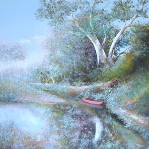(CreativeWork) The Red Canoe - landscape painting by Jan Matson. oil-painting. Shop online at Bluethumb.
