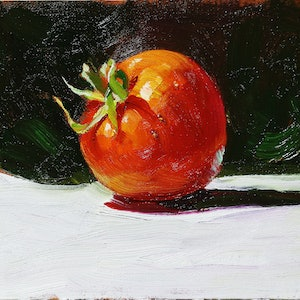 (CreativeWork) Still life tomato 126 by Yuan Fu. oil-painting. Shop online at Bluethumb.