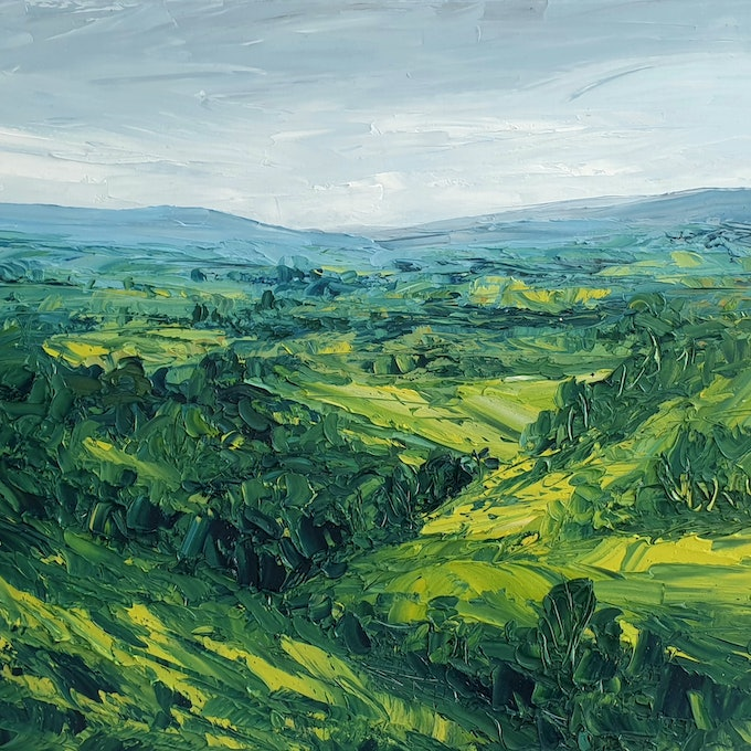 (CreativeWork) The Valley - Landscape Painting by Angela Hawkey. oil-painting. Shop online at Bluethumb.