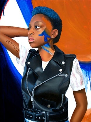 (CreativeWork) Jess with Blue and Leather by Kim Leutwyler. Oil. Shop online at Bluethumb.