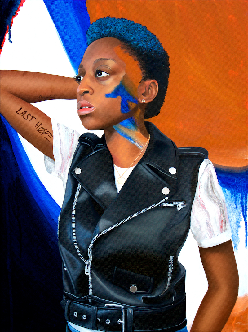 (CreativeWork) Jess with Blue and Leather by Kim Leutwyler. oil-painting. Shop online at Bluethumb.