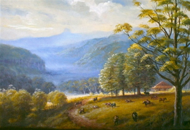 (CreativeWork) Tweed valley, homestread with cows, NSW by Jos Kivits. Oil Paint. Shop online at Bluethumb.