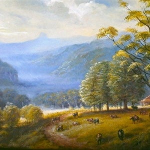 (CreativeWork) Tweed valley, homestread with cows, NSW by Jos Kivits. oil-painting. Shop online at Bluethumb.
