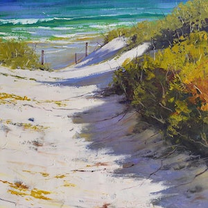 (CreativeWork) Beach Path by Graham Gercken. oil-painting. Shop online at Bluethumb.