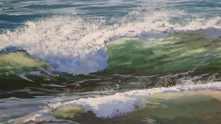 (CreativeWork) ROLLING WAVES #2 by Margaret HADFIELD. Acrylic Paint. Shop online at Bluethumb.