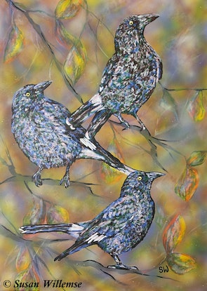 (CreativeWork) Currawongs and autumn leaves by Susan Willemse. Acrylic Paint. Shop online at Bluethumb.