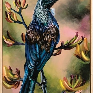 (CreativeWork) NEW ZEALAND TUI by HEYLIE MORRIS. acrylic-painting. Shop online at Bluethumb.