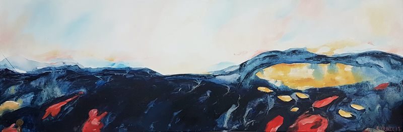(CreativeWork) Chasing the Sunset by Rachel Prince. Acrylic Paint. Shop online at Bluethumb.