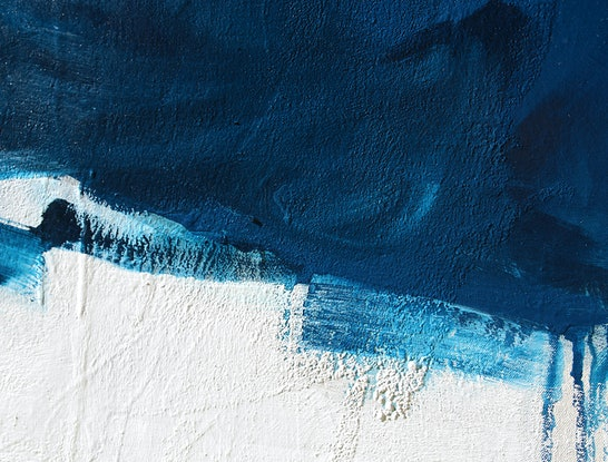 (CreativeWork) Raw - large blue mustard abstract by Stephanie Laine. Acrylic Paint. Shop online at Bluethumb.
