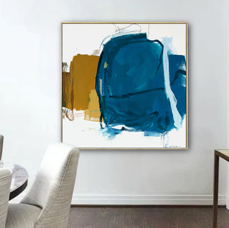 (CreativeWork) Raw - large blue mustard abstract by Stephanie Laine. acrylic-painting. Shop online at Bluethumb.