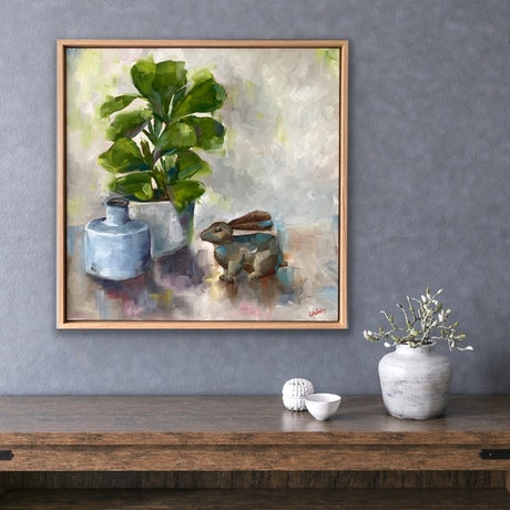 (CreativeWork) Trust The Bunny, Whimsical - framed oil painting by Eve Sellars. Oil Paint. Shop online at Bluethumb.