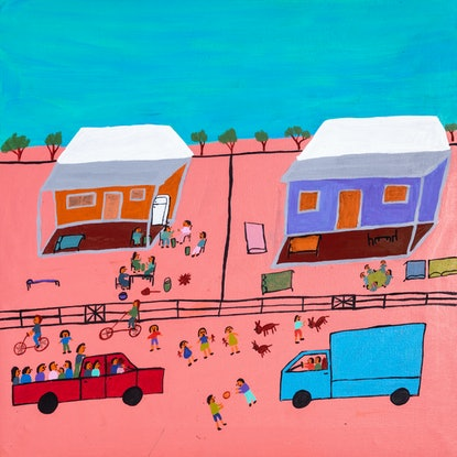 (CreativeWork) Station House (19-TA160) by Lindy Brodie. Acrylic Paint. Shop online at Bluethumb.