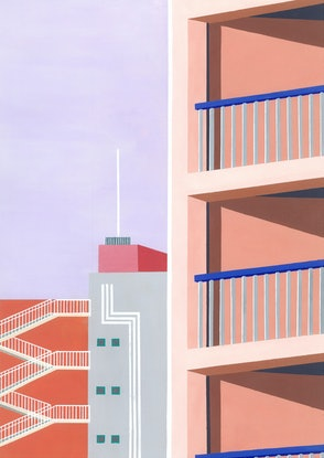 (CreativeWork) Osaka at sunset no.2 by Bianca Wilson. Acrylic Paint. Shop online at Bluethumb.