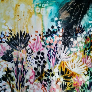 (CreativeWork) Where the Wild Flowers Grow  by Amanda Skye Mulder. arcylic-painting. Shop online at Bluethumb.