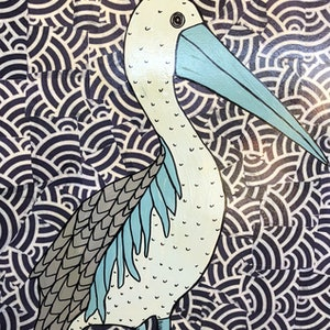 (CreativeWork) Mr Pelican by Sally Dunbar. mixed-media. Shop online at Bluethumb.