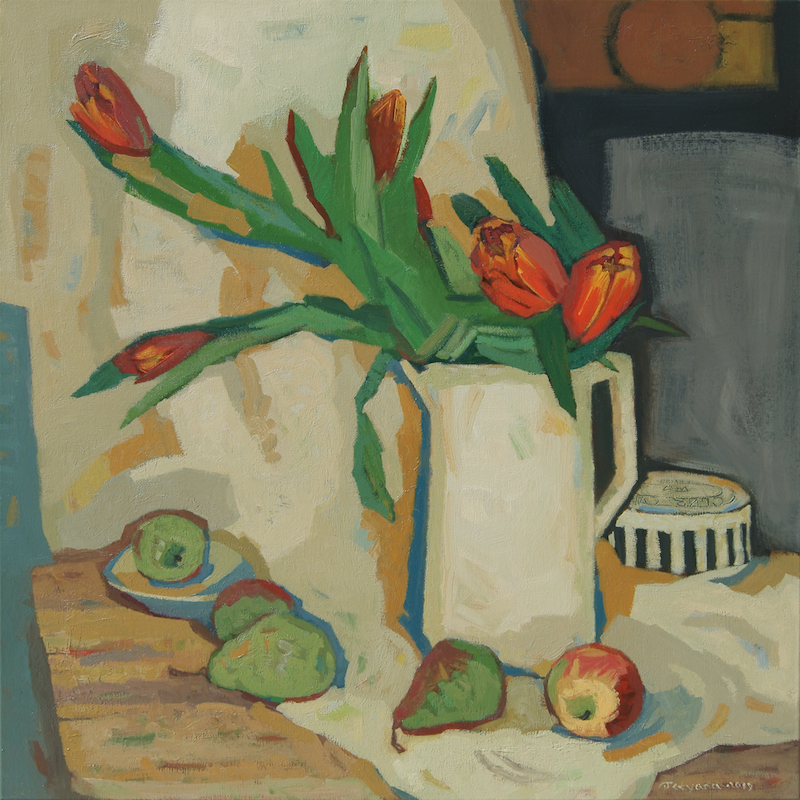 (CreativeWork) Still Life with Tulips by Tetyana Khytko. oil-painting. Shop online at Bluethumb.