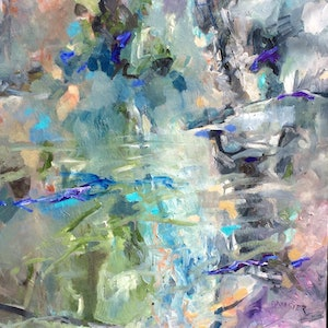 (CreativeWork) River deep by sue bannister. oil-painting. Shop online at Bluethumb.