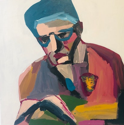 (CreativeWork) The Poet by Sharon Monagle. Acrylic Paint. Shop online at Bluethumb.
