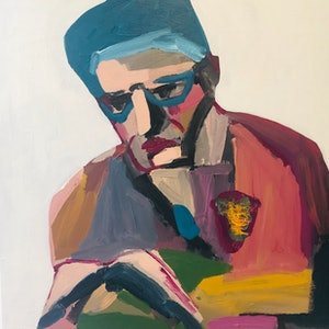 (CreativeWork) The Poet by Sharon Monagle. arcylic-painting. Shop online at Bluethumb.