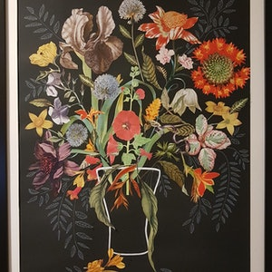 (CreativeWork) 'The Empty Vase' - #4' - framed collage  by Karen Coull. mixed-media. Shop online at Bluethumb.