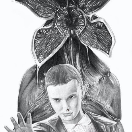 (CreativeWork) Eleven and the Demogorgon by Lawrance Singh. Drawings. Shop online at Bluethumb.