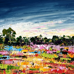 (CreativeWork) Colourful Land - FRAMED - Landscape Painting by Angela Hawkey. oil-painting. Shop online at Bluethumb.