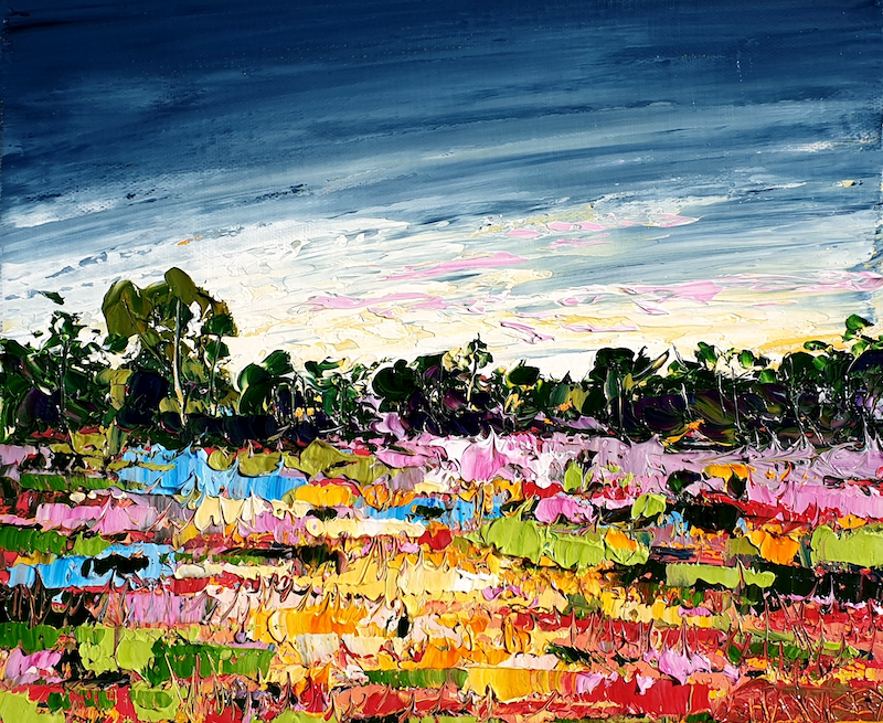 (CreativeWork) Colourful Land - FRAMED - Landscape Painting by Angela Hawkey. Oil Paint. Shop online at Bluethumb.