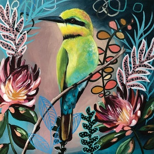 (CreativeWork) ABSTRACT RAINBOW BEE EATER by HEYLIE MORRIS. arcylic-painting. Shop online at Bluethumb.