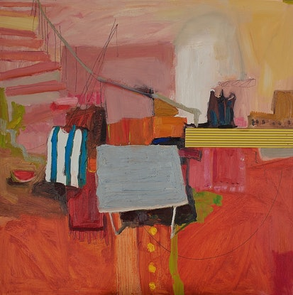 (CreativeWork) Interior with a Watermelon by Joanna Gambotto. Oil Paint. Shop online at Bluethumb.