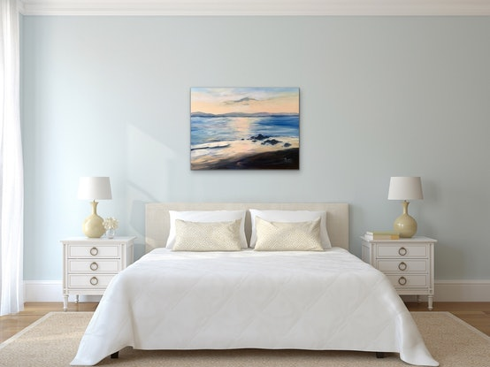 (CreativeWork) Byron Surf by Meredith Howse. Acrylic Paint. Shop online at Bluethumb.