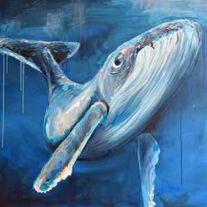 (CreativeWork) Blue Bliss Whale by Rebecca Hill. acrylic-painting. Shop online at Bluethumb.