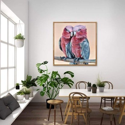 (CreativeWork) Galah Lovers by Rebecca Hill. Acrylic Paint. Shop online at Bluethumb.