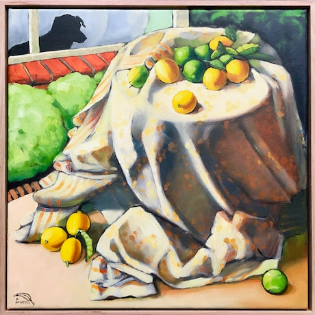 (CreativeWork) Free Lemons (Framed)(on sale) by kirsty mcintyre. Oil Paint. Shop online at Bluethumb.