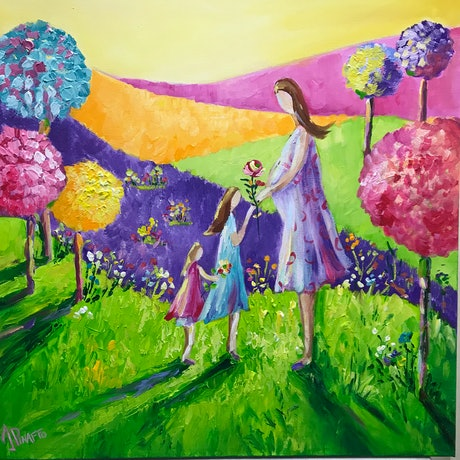 (CreativeWork) Motherhood and love (Framed) by Ivana Pinaffo. Acrylic Paint. Shop online at Bluethumb.