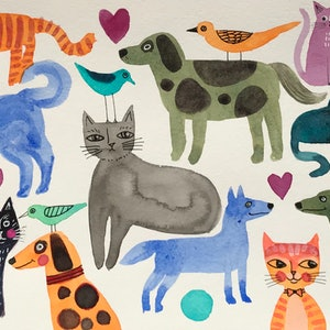 (CreativeWork) Dogs and cats  by Karin Zeller. watercolour. Shop online at Bluethumb.