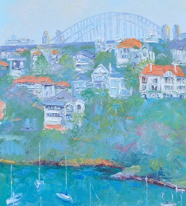 (CreativeWork) MOSMAN BAY AND SYDNEY HARBOUR BRIDGE by Jan Matson. Oil Paint. Shop online at Bluethumb.