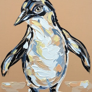 (CreativeWork) Warm Glow Fairy Penguin by Lisa Fahey. arcylic-painting. Shop online at Bluethumb.