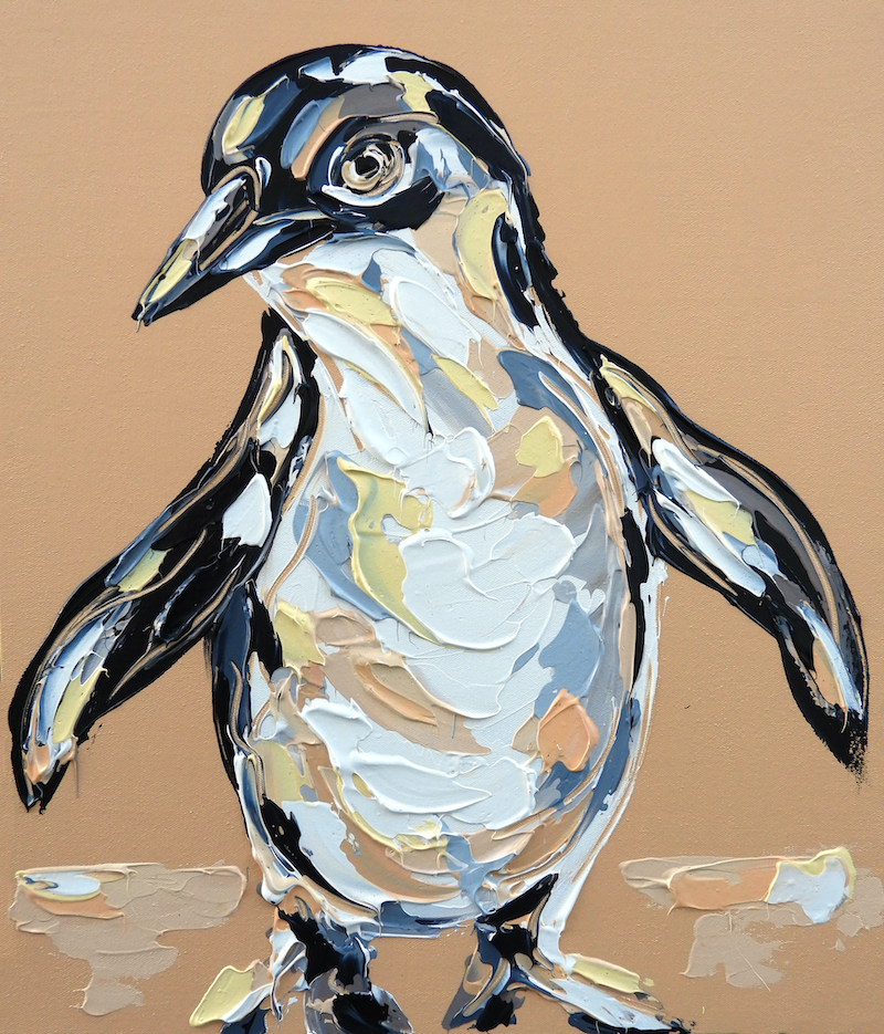 (CreativeWork) Warm Glow Fairy Penguin by Lisa Fahey. acrylic-painting. Shop online at Bluethumb.