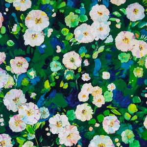 (CreativeWork) Impasto Floral - Dog Roses by Eve Izzett. arcylic-painting. Shop online at Bluethumb.