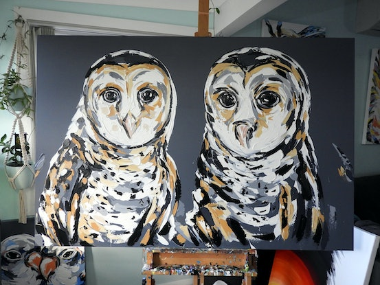 (CreativeWork) Masked Owl - Reserved Commission  by Lisa Fahey. #<Filter:0x000055f84a6532c0>. Shop online at Bluethumb.