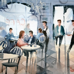 (CreativeWork) Cafe Refuge on a Rainy Day by Chrysovalantou Mavroudis. watercolour. Shop online at Bluethumb.