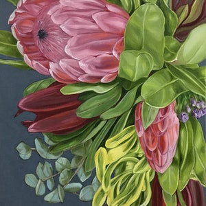 (CreativeWork) Tumbling Native Bouquet - FRAMED by Alicia Cornwell. oil-painting. Shop online at Bluethumb.