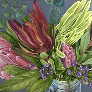 (CreativeWork) Protea Bunch In Jar - FRAMED by Alicia Cornwell. #<Filter:0x00007f18b92a3798>. Shop online at Bluethumb.
