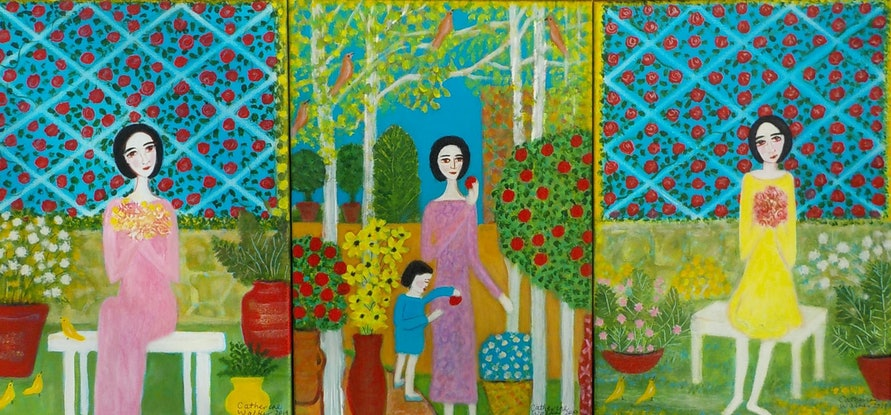 "(CreativeWork) "" Garden sanctuary"" by Catherine Walker. Acrylic Paint. Shop online at Bluethumb."