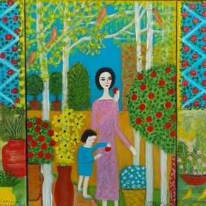 """(CreativeWork) """" Garden sanctuary"""" by Catherine Walker. acrylic-painting. Shop online at Bluethumb."""